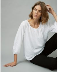The White Company Organic Cotton Jersey Boho Top - White