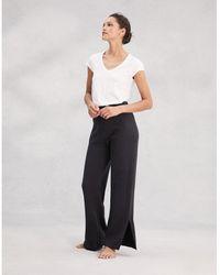 The White Company Cotton-cashmere Wide-leg Split Sweatpants - Gray