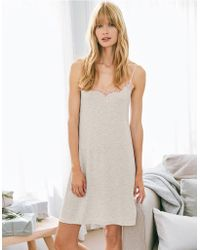 7412b9202aa3d The White Company - Velvet Strap Contrast Lace Nightie - Lyst