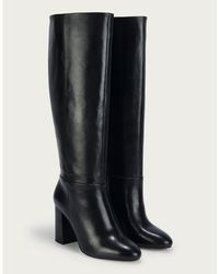 The White Company Leather Long Knee Boots - Black