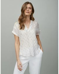 The White Company Linen-gauze Printed Short-sleeve Top - White