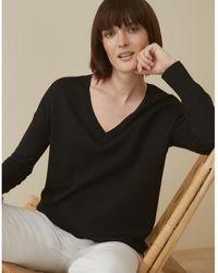 The White Company Washable Merino Wool Curved-hem Jumper - Black