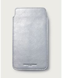 The White Company Leather Phone Pouch - Metallic