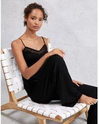 The White Company Flocked Star Bobble Trim Pajama Set - Black