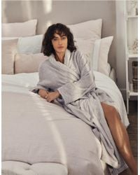 The White Company Unisex Cotton Classic Robe - Gray