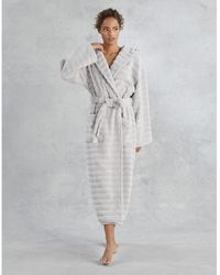 The White Company Unisex Hooded Ribbed Hydrocotton Robe - Gray