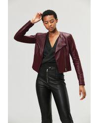 VEDA - Dali Orion Leather Jacket Merlot - Lyst