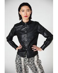 VEDA Durango Leather Button Down - Black