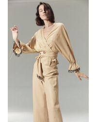 VEDA Vance Leather Trouser Khaki - Natural