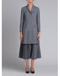Thom Browne | Pleated Bottom Chesterfield Overcoat In School Uniform Plain Weave | Lyst