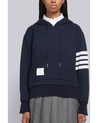 Thom Browne 4-bar Relaxed Cashmere Hoodie - Blue