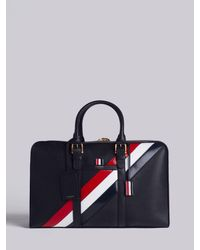 Thom Browne Medium Holdall With Red, White And Blue Diagonal Stripe In Pebble Grain & Calf Leather - Black