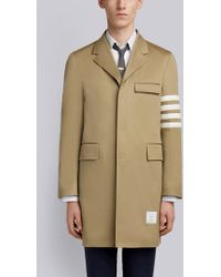 Thom Browne Unconstructed 4-bar Stripe Classic Chesterfield Overcoat - Natural