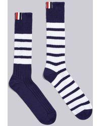 9f720503c1b Lyst - Thom Browne Ribbed Mid Calf Socks Dark Grey in Gray for Men