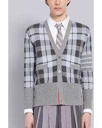 Thom Browne Medium Gray Cashmere Tartan Check Jacquard V-neck 4-bar Cardigan