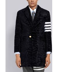 Thom Browne 4-bar Karakul Fur Chesterfield - Blue