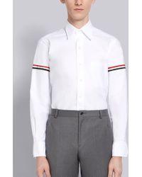 Thom Browne Grosgrain Arm Band Oxford Shirt - White