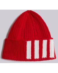 Thom browne Cashmere Bar Stripe Beanie Hat White in White for Men  881eb0a9069b