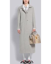 Thom Browne Cashmere Ankle Length Overcoat - Gray