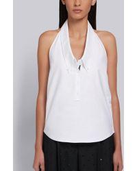 Thom Browne Drop Collar Oxford Halter Shirt