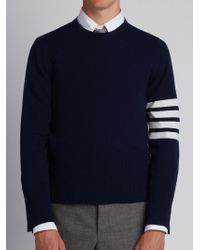 Thom Browne - Short Crewneck Pullover With 4-bar Stripe In Navy Blue Cashmere - Lyst