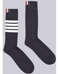 Thom Browne Dark Gray Cotton Mid-calf 4-bar Socks