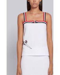Thom Browne Sequin Icon Bow Tie Camisole - White