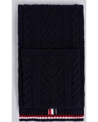 Thom Browne Navy Cable Pocket Scarf - Blue