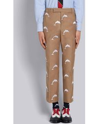 Thom Browne Camel Twill Dolphin Embroidered Chino Trouser - Brown