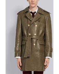 Thom Browne Calfskin Trench Overcoat - Green