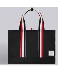 Thom Browne East-west Nylon Tote Bag - Black