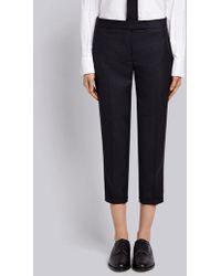 Thom Browne Stripe Detail Wool Pants - Blue