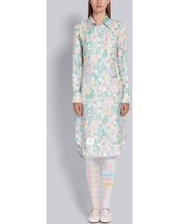 Thom Browne Sunny Floral Multi Print Classic Long Sleeve Shirtdress - Pink