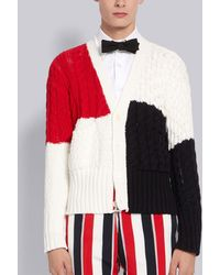 Thom Browne Colourblock Cable Knit Cardigan - Red