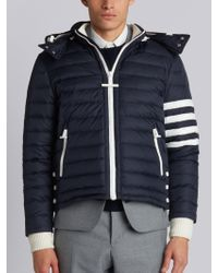 Thom Browne - Downfilled Ski Jacket With 4-bar Stripe Sleeve & Detachable Hood In Navy Mini Ripstop - Lyst