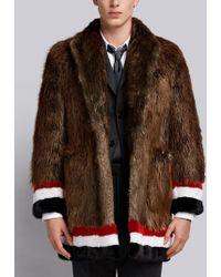Thom Browne Painted Beaver Fur Sack Overcoat - Brown