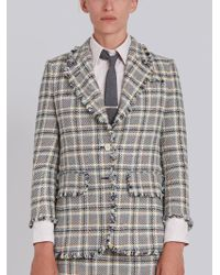 Thom Browne - Wide Lapel Single Breasted Sport Coat With Fray In Madras Cotton Tweed - Lyst
