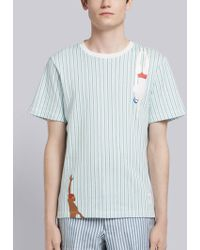 Thom Browne - Swimmer Print Striped Jersey Tee - Lyst