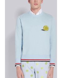 Thom Browne Tennis Ball Embroidery Sweater - Blue