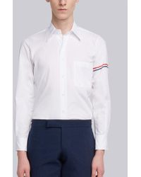 Thom Browne - Classic L/s Shirt With Printed Red, White And Blue Hairline Stripe In Solid Poplin - Lyst