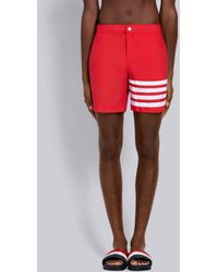 Thom Browne Snap Front Swim Short In Solid Swim Tech W/ 4 Bar Print - Red