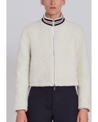 Thom Browne - Funnel Neck Zip Up Jacket In Dyed Shearling - Lyst