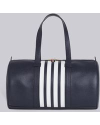 Thom Browne - Unstructured Gym Bag With Contrast 4-bar Stripe In Pebble Grain & Calf Leather - Lyst
