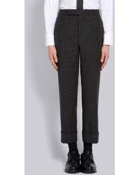 Thom Browne Herringbone Overcheck Tweed Trouser - Gray
