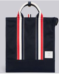 Thom Browne Navy Canvas Interlock Backing Lined Tote - Blue