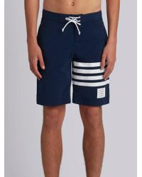 Thom Browne Classic Board Short With 4-bar College Stripes - Blue