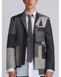 Thom Browne - Classic Single Breasted Sport Coat In Patchwork Embroidered Super 120's Twill - Lyst