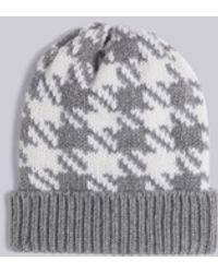 Thom Browne Gun Club Intarsia Check Hat - Gray