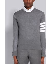 Thom Browne Striped Merino Wool Sweater - Gray