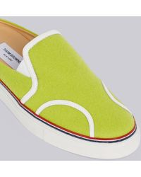 Thom Browne Yellow Solid Flannel Rubber Cupsole Sneaker Slide - Green